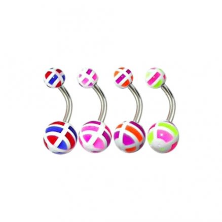 Assorted English Checkered UV Balls Curved Bar Belly Rings