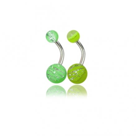 Assorted Plain And Glitters Belly Rings With Fancy UV Balls