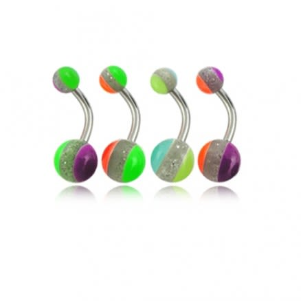 Assorted Three Color Lines UV Balls Belly Rings Body Jewelry