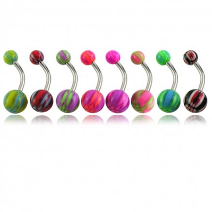 Assorted UV Beach Fancy Ball With Curved Bar Belly Rings