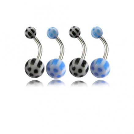 Assorted Checker Fancy UV Balls With Banana Bar Navel Rings