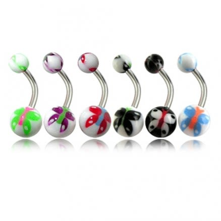 Assorted Butterfly Belly Rings Curved Bar With Fancy UV Balls
