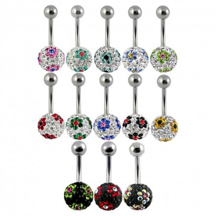Assorted Flower Collection Of Crystal stone Belly Ring