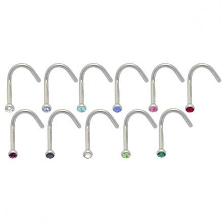 316L SS Jeweled Bent Nose Stud Body Jewelry