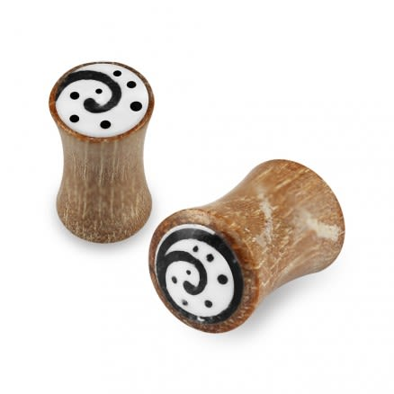 Double Flared Swirl Inlay Organic Horn Saddle Ear Plug