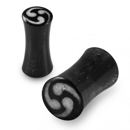 Double Flared Swirl Inlay Organic Horn Saddle Ear Plug