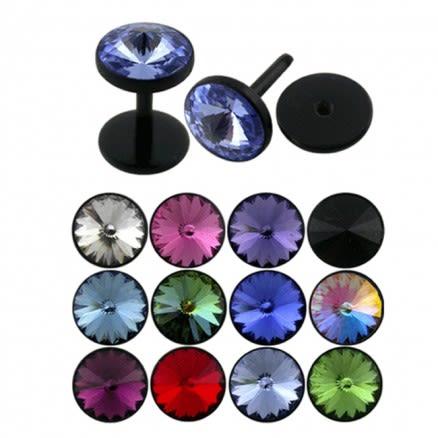Black UV jeweled Fake Ear Body Jewelry