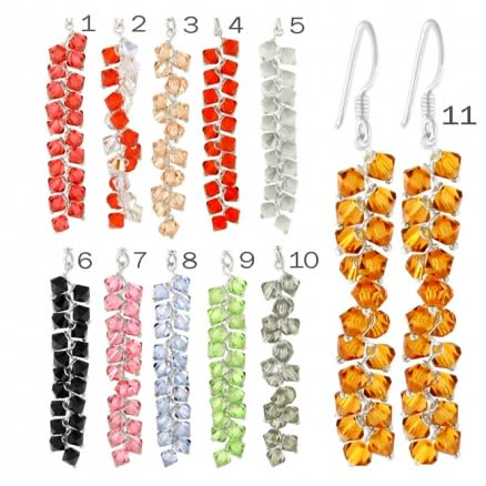 Crystal Beads on String Earring