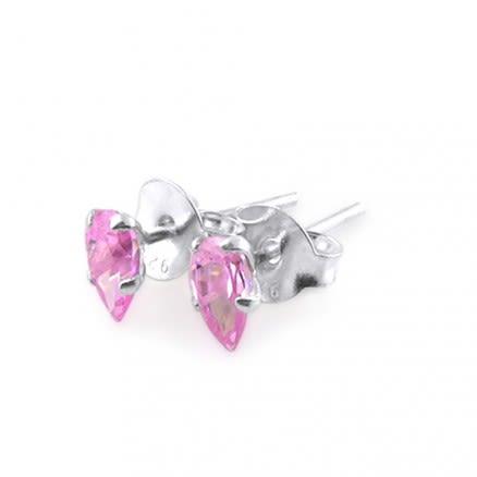 3mm Pear CZ Silver Earring