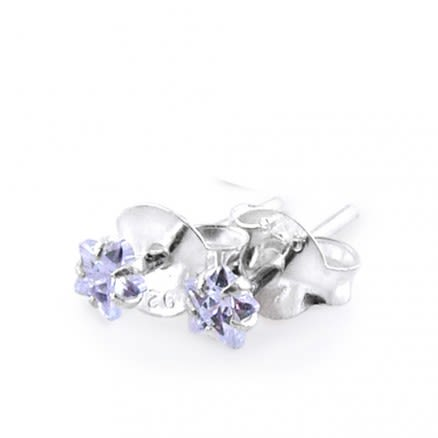 3mm Star CZ Silver Earring