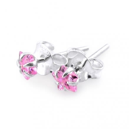 4mm Star CZ Silver Earring