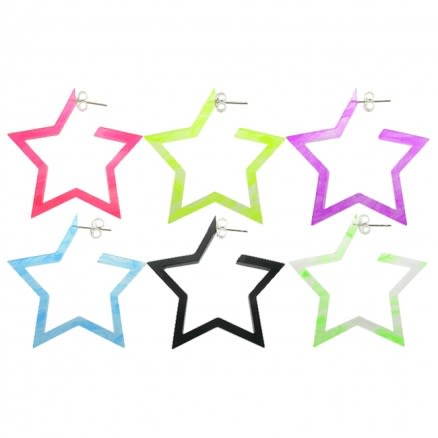 24mm UV React Fashionable Pentagon Star Earring