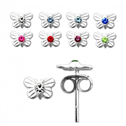 Jeweled Butterfly Silver Earring