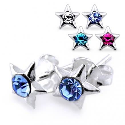 Jeweled Star Silver Earring
