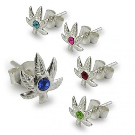 Jeweled Marijuana Leaf Silver Earring