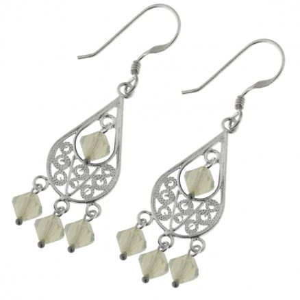 Crystal Beads Filigree Earring