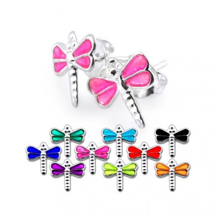 Pink Color Hand Painted Dragonfly Silver Earring