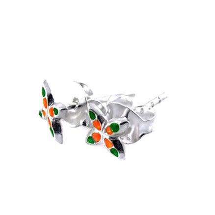 Multi Color Butterfly Silver Earring