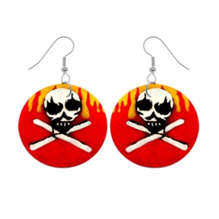 Fire Skull Logo Earring