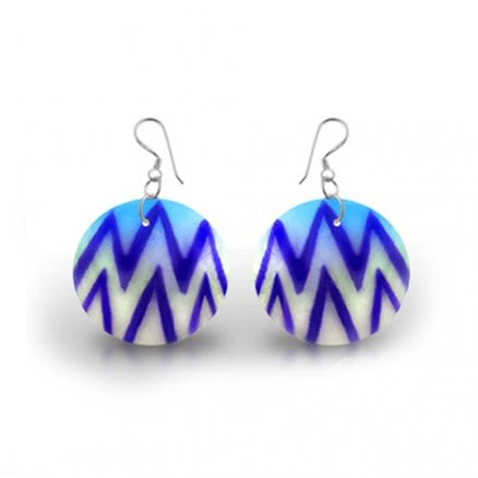 Fancy Blue And White Zig Zag Logo Earring