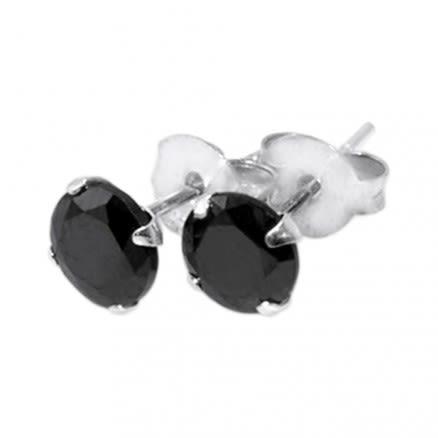 925 Sterling Silver Earrings With Black Zirconia