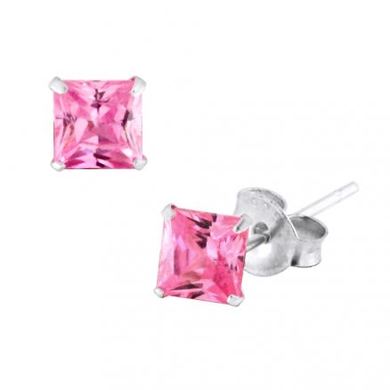 925 Sterling Silver Square Studs Earring With Pink Zirconia
