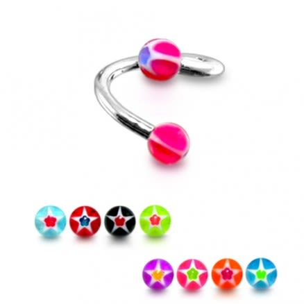 SS Eyebrow Twisted Barbell with Star ball