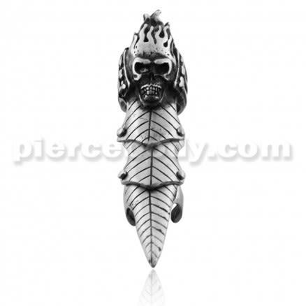 Full Finger Pewter Burning Skull Armor Ring