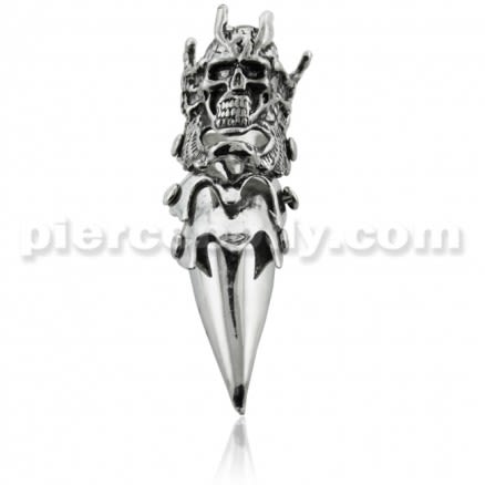 Full Finger Pewter King Skull Armor Ring