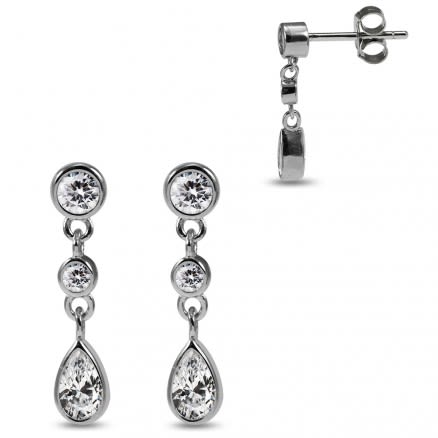 925 Sterling Silver Rhodium Plated Round Clear CZ Jeweled Bezel Setting Dangling Pear Charm Ear Stud