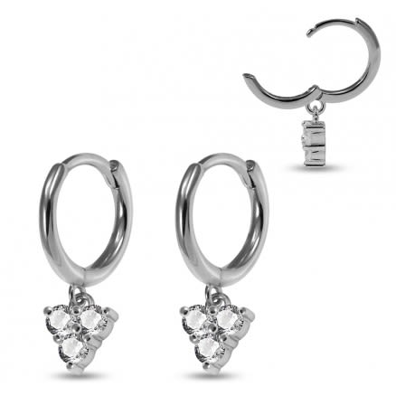 925 Sterling Silver Rhodium Plated Huggie Clicker Earring with Dangling Trinity