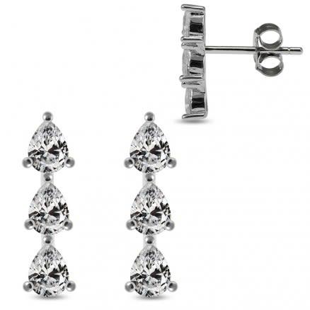 925 Sterling Silver Rhodium Plated Triple Pear CZ Jeweled Ear Stud