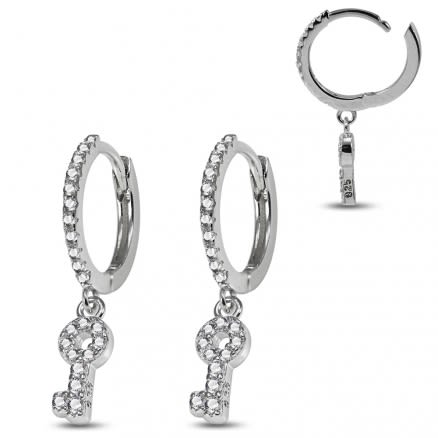 925 Sterling Silver Rhodium Plated Huggie Clicker Earring with CZ Jeweled Dangling Key