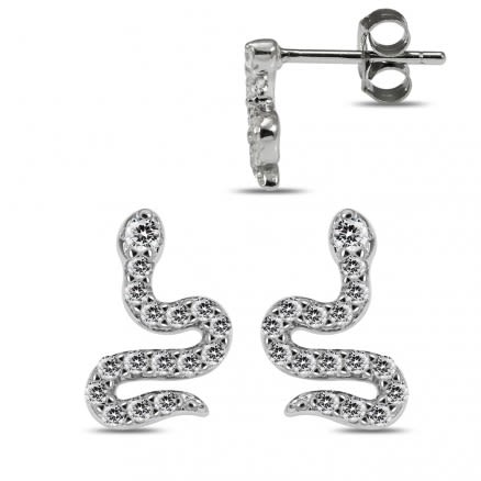 925 Sterling Silver Rhodium Plated Clear CZ Jeweled Snake Ear Stud