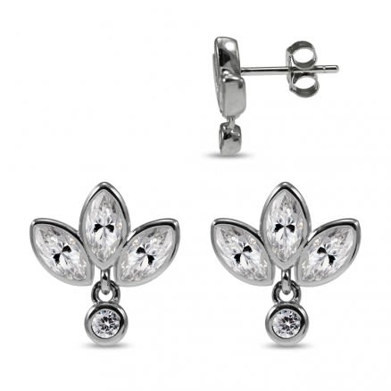 925 Sterling Silver Rhodium Plated Clear Marquise CZ Paved Bezel Setting 3 Petals Leaf Ear Stud