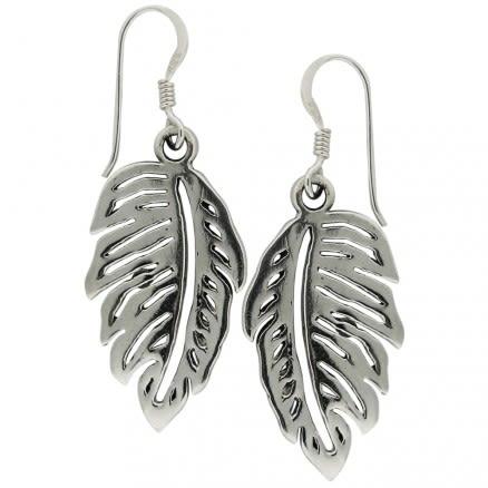 925 Sterling Silver Leaf Fish Hook Earring
