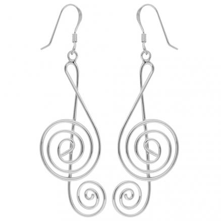 925 Sterling Silver Music Note Fish Hook Earring