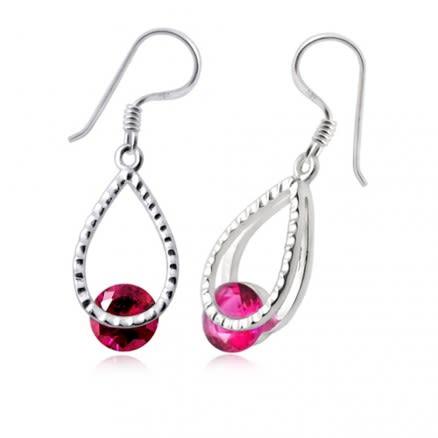 Fancy Jeweled Silver Single Stone Earring