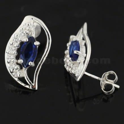 925 Sterling Silver Multi Color Long Leaf Jeweled Fancy Ear Stud