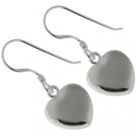 925 Sterling Silver Jeweled Plain Heart Hook Earring