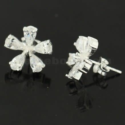 925 Sterling Silver Jeweled Flower Ear Stud