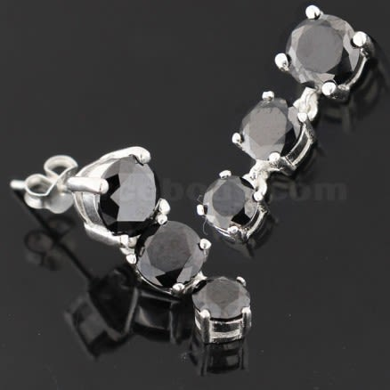925 Sterling Silver Tri Rounds Dangling Ear Stud Ring