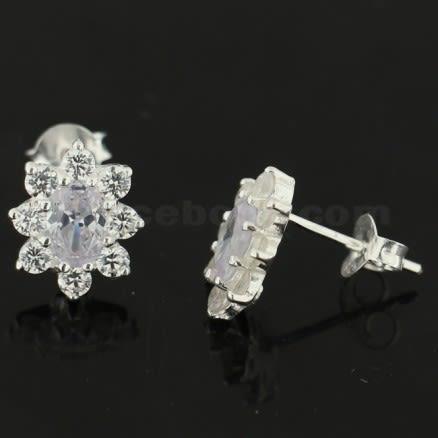 Filigree Flower Jeweled 925 Sterling Silver Ear Stud Ear Ring