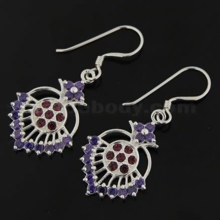 Fancy Jeweled Dangling Heart 925 Sterling Silver Ear Ring