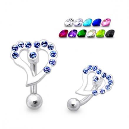 Jeweled Heart Eyebrow Ring