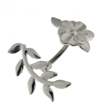 Floral Flower 925 Sterling Silver Eyebrow Bar