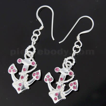 Jeweled Anchor 925 Sterling Silver Hook Earring