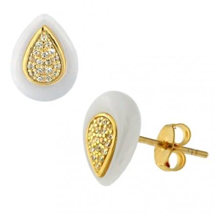 Micro Jeweled CZ Tear Drop CERAMIC Gold Platted Sterling Silver Ear Stud