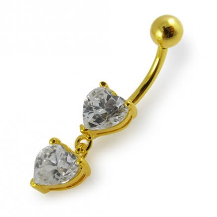 14G 10mm Yellow Gold Platted 925 Sterling Silver Clear Jewel Heart Belly Ring