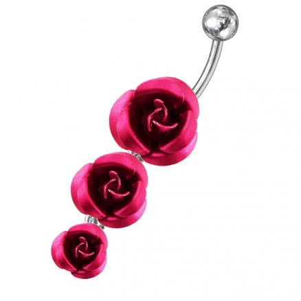 Moving Flower Charms Navel Ring
